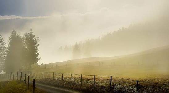 slovenia, landscape, scenic, fog, haze, mist, sunrise
