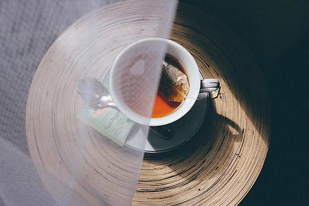 tassa de te, te, beguda, blanc, calenta, begudes, menta