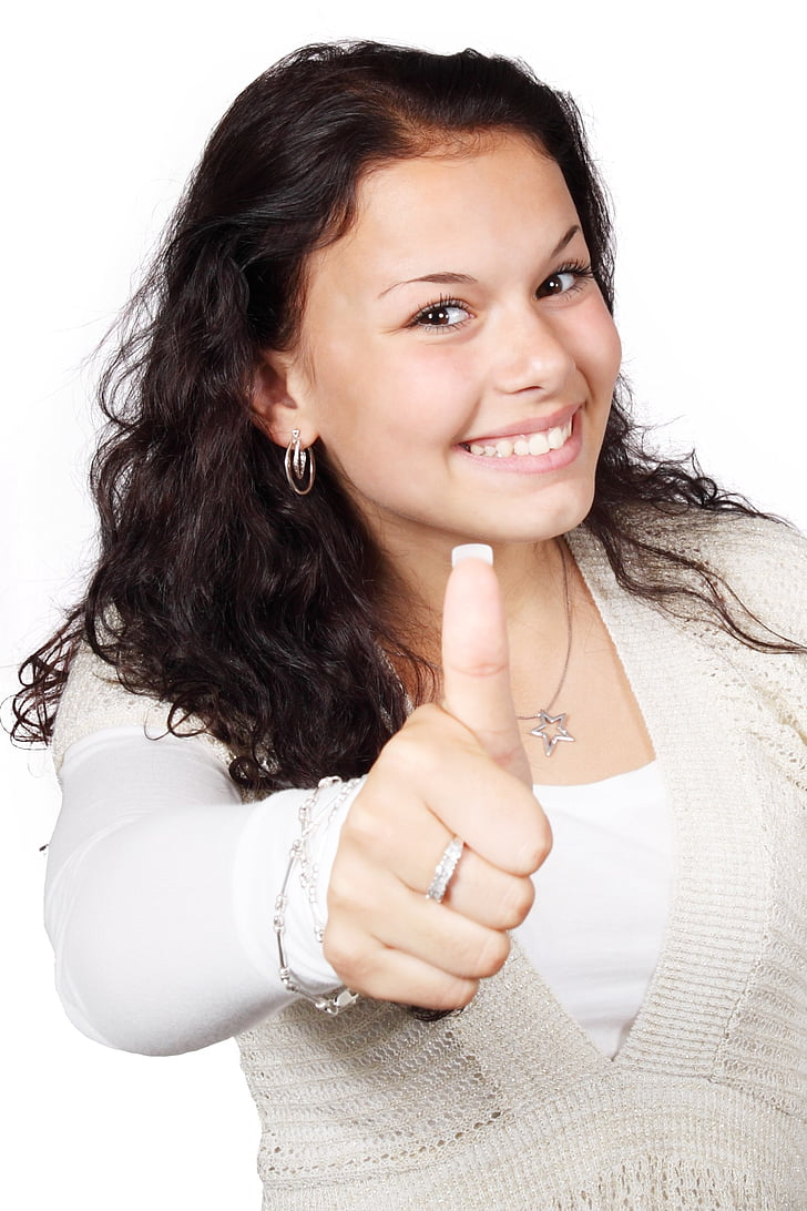 l'aprovació, femella, gest, mà, feliç, aïllats, persones