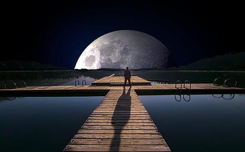 lake, web, full moon, water, evening, clouds, light