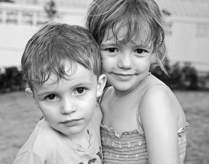 crianças, retrato, preto e branco, bonito, retrato de crianças, criança