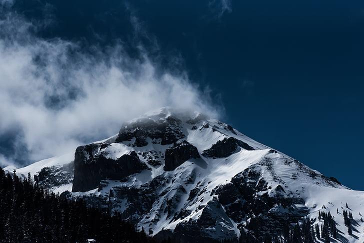 nevoeiro, paisagem, montanha, natureza, cênica, neve, Inverno