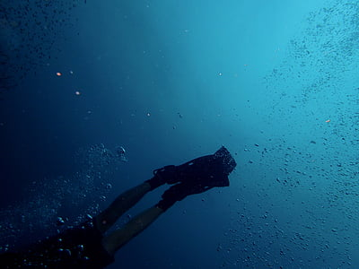 дайвер, Дайвінг, плавці, океан, людина, підводне, море