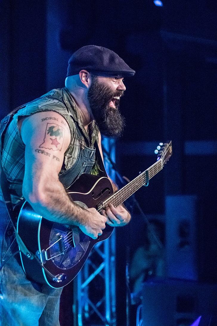 músic, guitarra, cara, rendiment, esdeveniment, Indianapolis, reverend peyton
