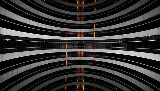 Ulme, Peking, hoone, must ja valge, abstraktne, Galaxy soho, arhitektuur