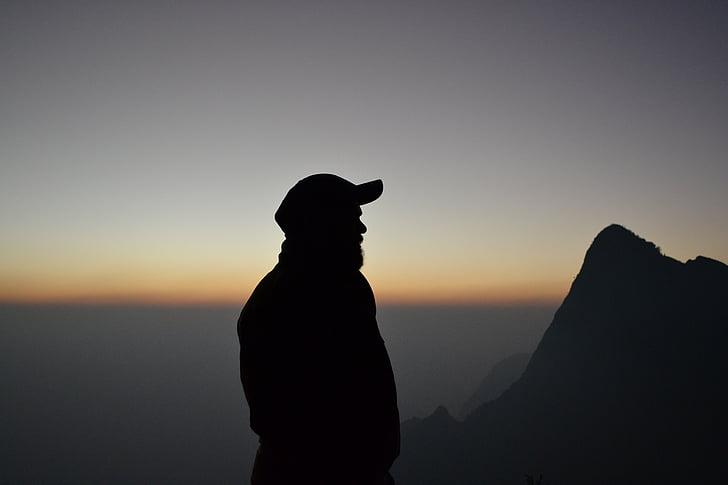 силуэт, Одиночество, только, мышление, Одиночество, Горизонт, на вершине холма