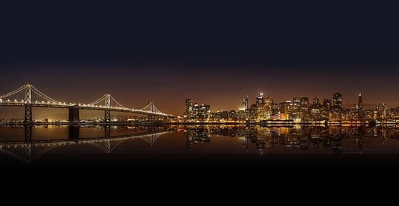 architecture, bridge, buildings, city, city lights, cityscape, downtown