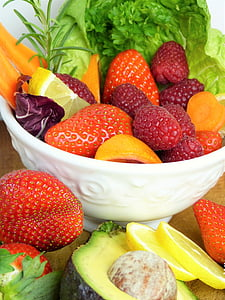 fruit, aardbeien, frambozen, citroen, avocado, salade, wortel
