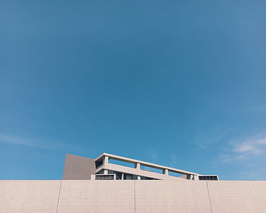 architecture, blue sky, building, sky, wall, white building, windows