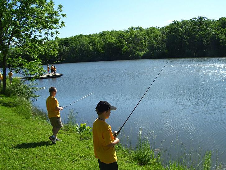 Rybolov, jazero, letné, rybár, ryby