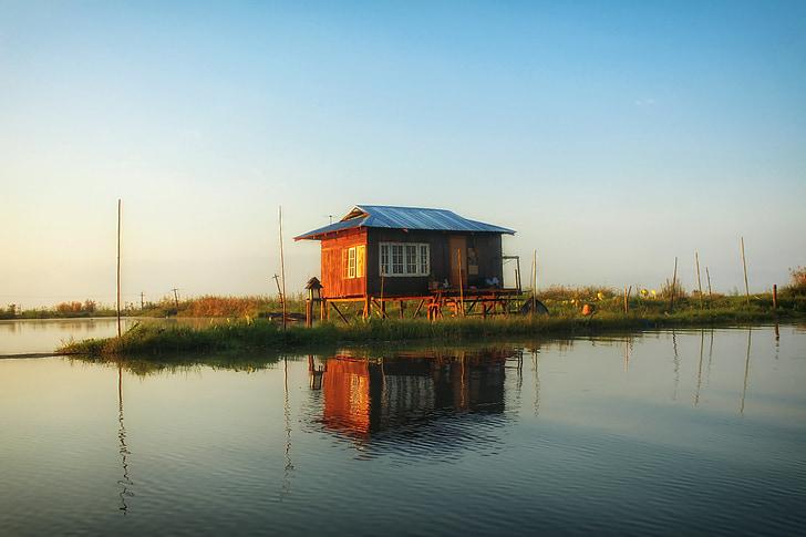 jezero Inle, Myanmar, Dům u jezera, dům, jezero, voda, odrazy