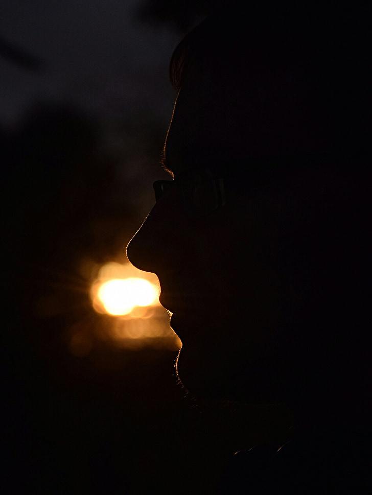 silhouette, human, shadow, face, light
