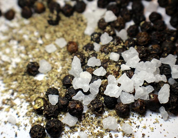 pebre, sal, grans, grans de sal, temporada, cuina, espècies