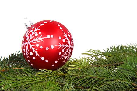 Priorità bassa, palla, Bagattella, ramo, Natale, decorazione, vetro