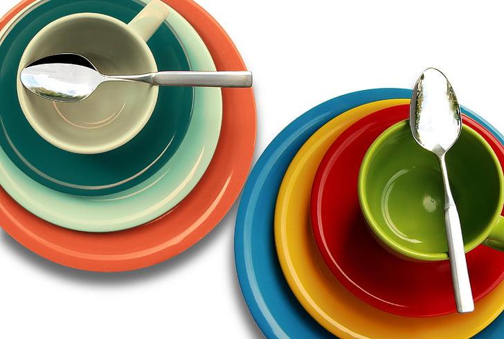 tazones de fuente, colorido, colorido, taza, taza, placas de, cucharas de