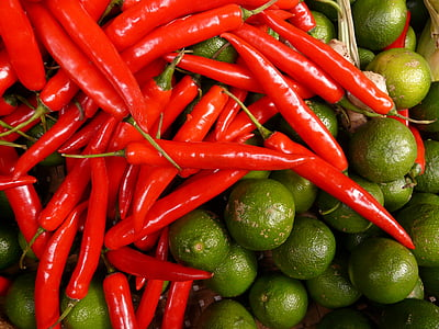 chaux de piment, rouge, vert, Sharp, sure, agrumes