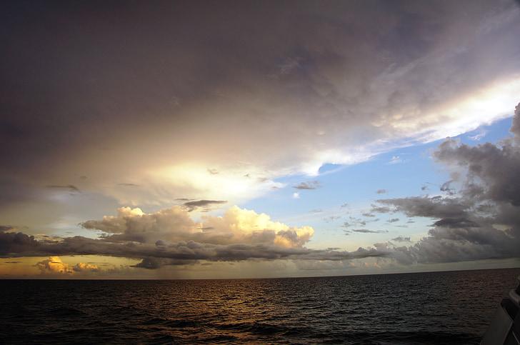 sunset, sea, forward, clouds, rain, caribbean