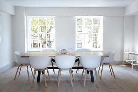 Apartament, cadira, contemporani, menjador, família, pis, mobles