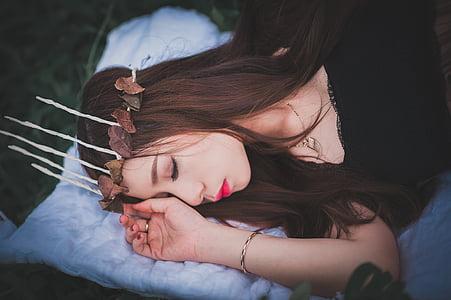 女孩, 睡眠, 字段, 女性, 日落, 风格, 模型