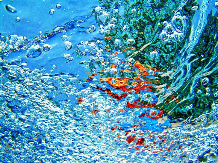 fons, resum, l'aigua, bombolles, fons abstractes, disseny, blau