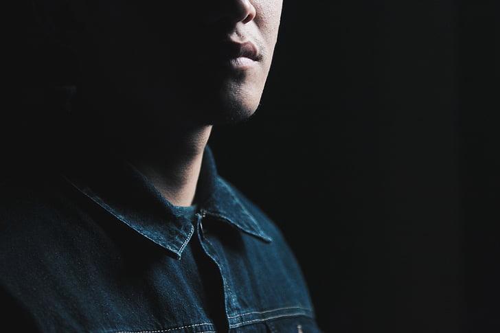 man, wearing, blue, denim, jacket, face, person