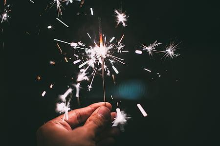 new year's eve, sparkler, sparks, sylvester