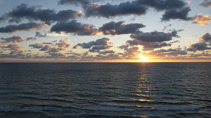 salida del sol, morgenrot, sol, mar, vacaciones, verano, Horizon