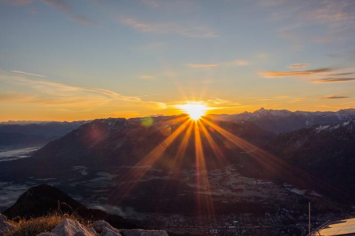 salida del sol, montaña, cielo, Mañana, morgenrot, iluminación, picos de las montañas