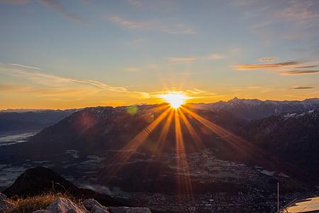 Alba, muntanya, cel, matí, morgenrot, il·luminació, pics