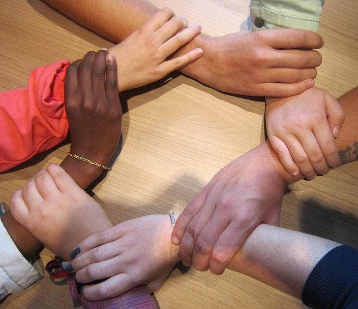 junts, equip, persones, cercle, mans, grup, suport