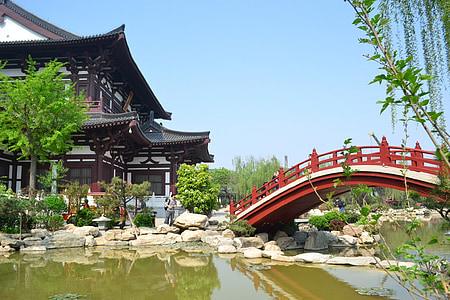 upes, tilts, Ķīna, ēka, ezers, ainava, rudens