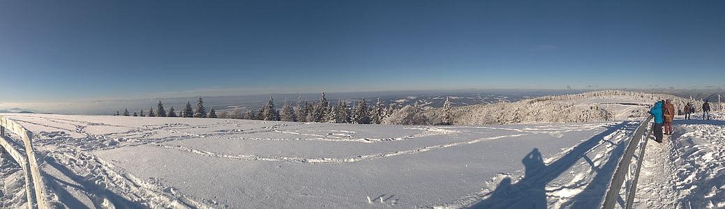 Panorama, Zimní, sníh, chlad, Zimní sporty, Snow krajina, modrá obloha
