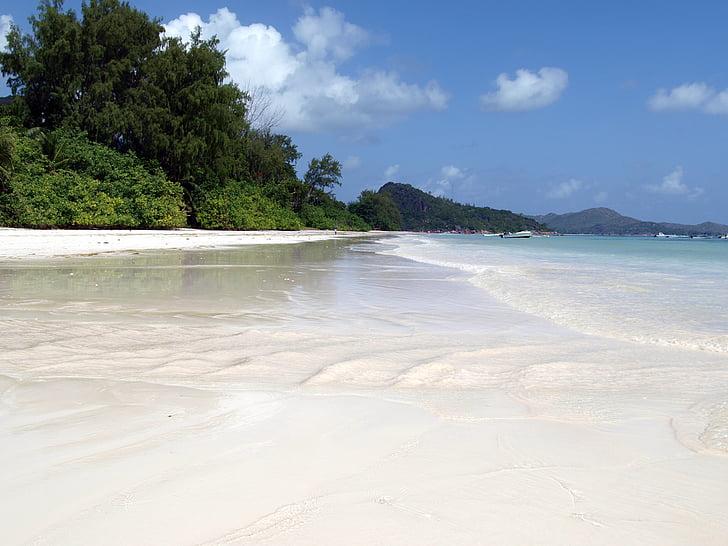 valkoista hiekkaa, Seychellit, Praslin, Beach