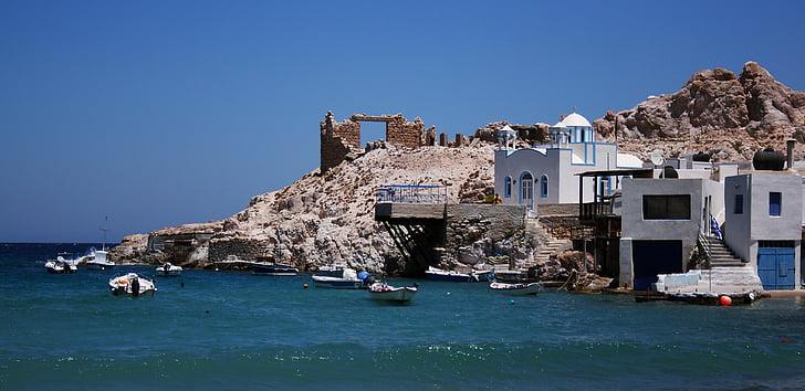 Grčija, Miloš, čoln, sredozemski, morje, hiša, arhitektura