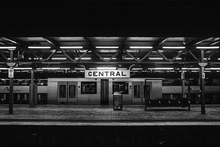 흑백, 역, 기차, 기차 역
