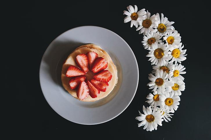 black table, daisies, daisy, dessert, food, fruits, pancakes