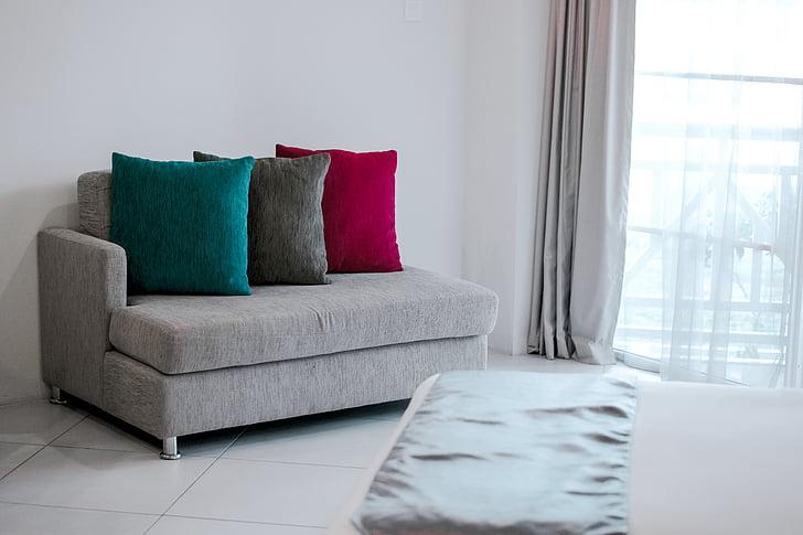 gultas, krēsls, spilvenu, mēbeles, mājas, iekštelpās, dzīvojamā istaba