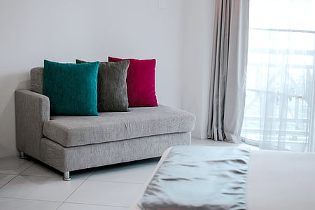 bed, chair, cushions, furniture, home, indoors, living room