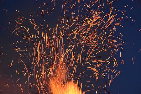 espurna, foc, brases, cremar, foc de fusta, foc - fenomen natural, flama
