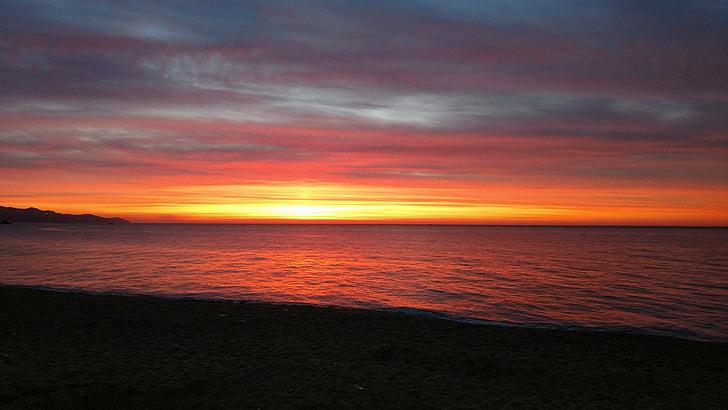 黎明, 太阳, 输出太阳, 日出景观, 海上日出, 平静, 黎明海滩