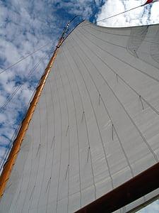 sailboat, mast, sail, sea, ocean, boat, ship