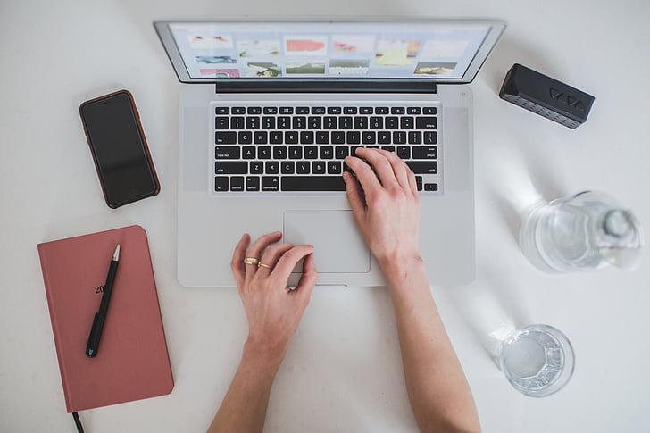 ordinador, electrònica, mans, portàtil, telèfon mòbil, Llibreta, pantalla