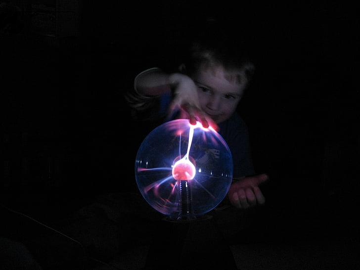 child, curious, plasma ball, little explorers, learn, researchers