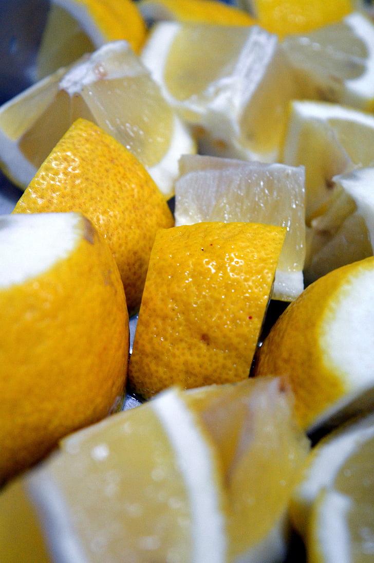 llimona, fruita, fresc, groc