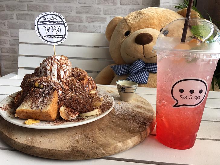 urso, água, café, bebidas, atmosfera, bom humor humor