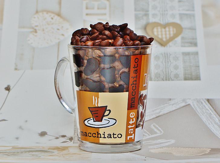 koffie, koffiebonen, Beker, glas, Café, geroosterde, cafeïne