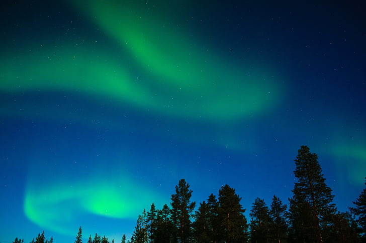 nordlys, aurora borealis, Lapland, Aurora, Inari, finske lapland, nat