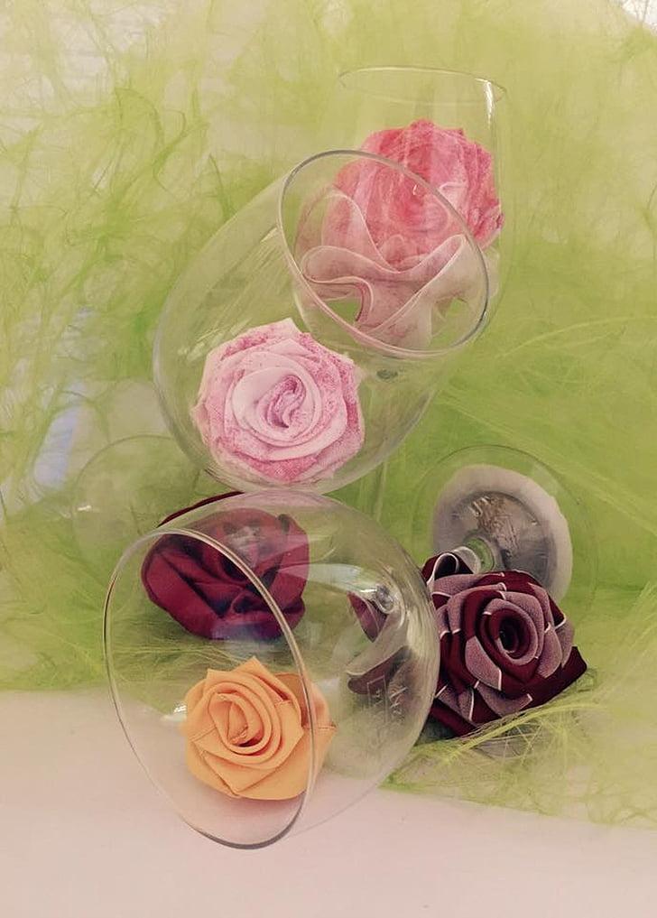 dekoration, glas, ökade, lekfull, blomma, sommar, romantiska