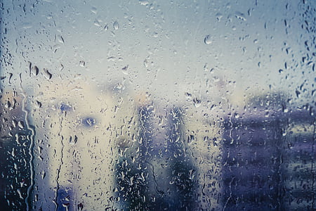 close, photo, translucent, glass, panel, water, droplets