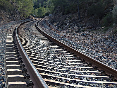 järnvägsspåren, Rails, resor, tåg, järnväg, resor, sliprar
